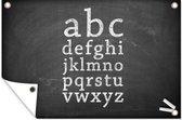 Het alfabet op een krijtbord tuinposter 120x80 cm - Tuindoek / Buitencanvas / Schilderijen voor buiten (tuin decoratie)