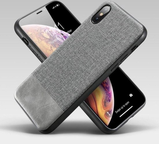 Apple iPhone XR Backcover - Grijs - Fabric & Kwaliteits PU Leer | Shockproof Case