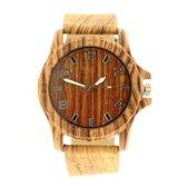 Houtlook horloge – licht bruin – Groot – Zilveren cijfers - RVS  - Dames – Heren – Intenz – Quartz – Leren band -  batterij