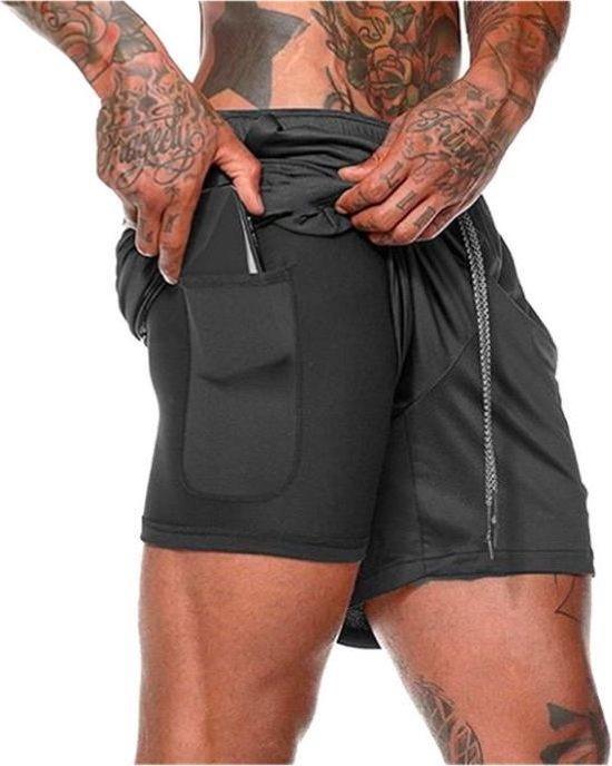 Bamled Sportbroekje voor Heren - Gym broek met binnenzak voor mobiel - 2 in 1 Pocket Shorts - Running, Fitness, Sport broekje - Quick Dry - Mobiel Zak - ( Zwart - Maat L )