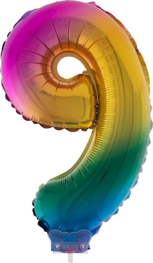 Cijferballon folie nummer 9 | Opblaascijfer 9 regenboog 41cm