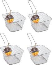 4x stuks zilver patat/snack serveermandjes/frietmandjes 14 cm - Tafeldecoratie - Patat/snack serveren in een mandje