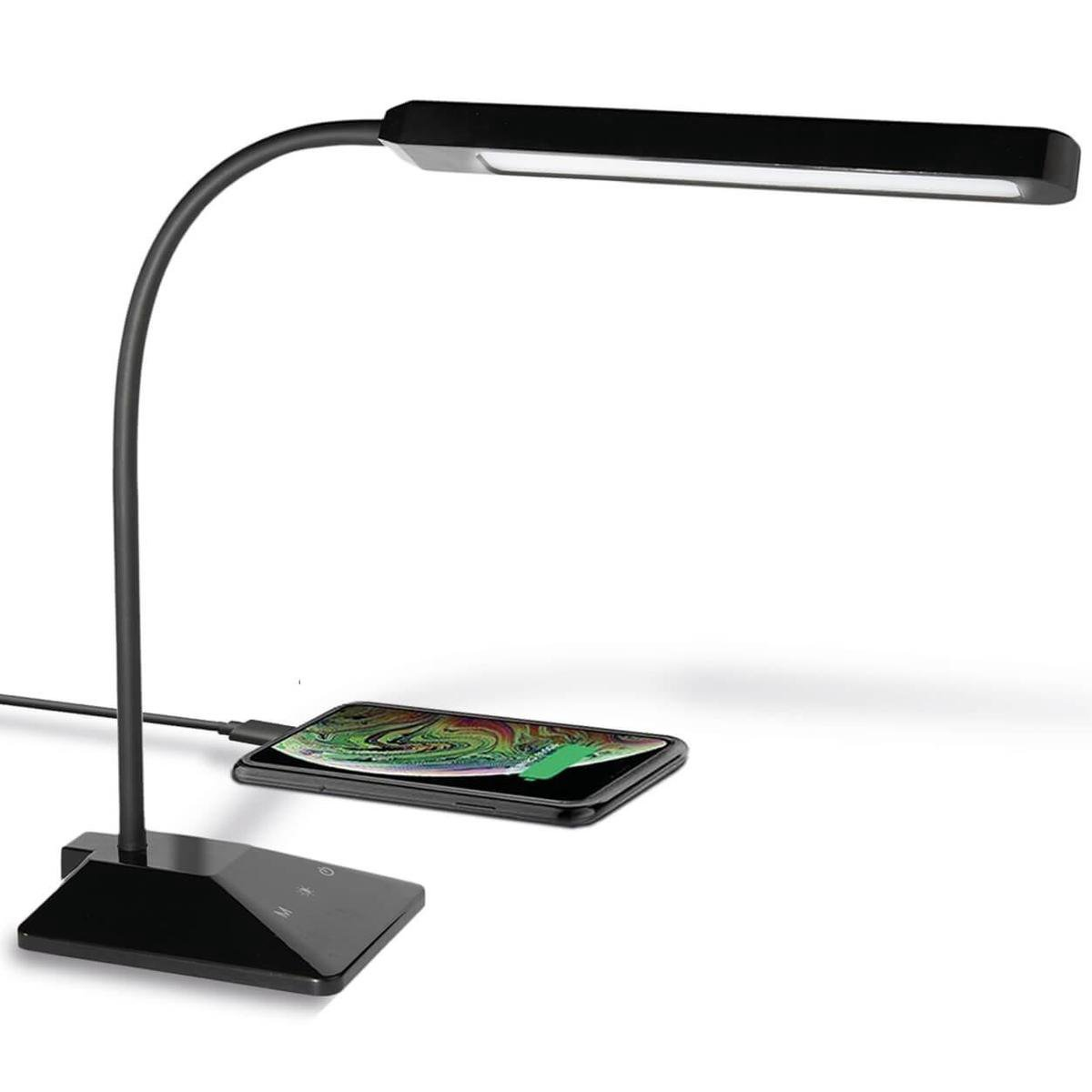 LifeGoods Verstelbare LED Bureaulamp - Dimbaar en met USB-Oplaadpoort - Wit en Warm Licht  - Zwart