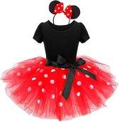 Minnie Mouse jurk rood witte stip meisjes prinsessen jurk maat 98-104 (110) + haarband verkleedkleding