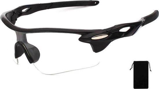 Premium Fiets Zonnebril Heren - Fietsbril Heren - Bril Voor Wielrennen - Zwart en Transparant - Stootvast - Inclusief Bewaarzakje