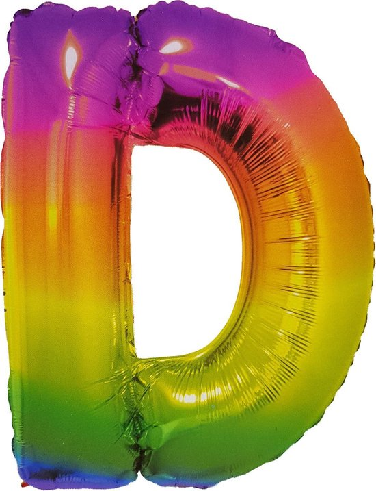 Folieballon Letter D Yummy Gummy Rainbow 34 Inch / 86 Cm