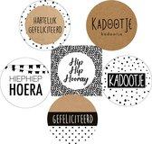 30x Stickers / Sluitstickers / Cadeaustickers | Gefeliciteerd / Kadootje / Hoera