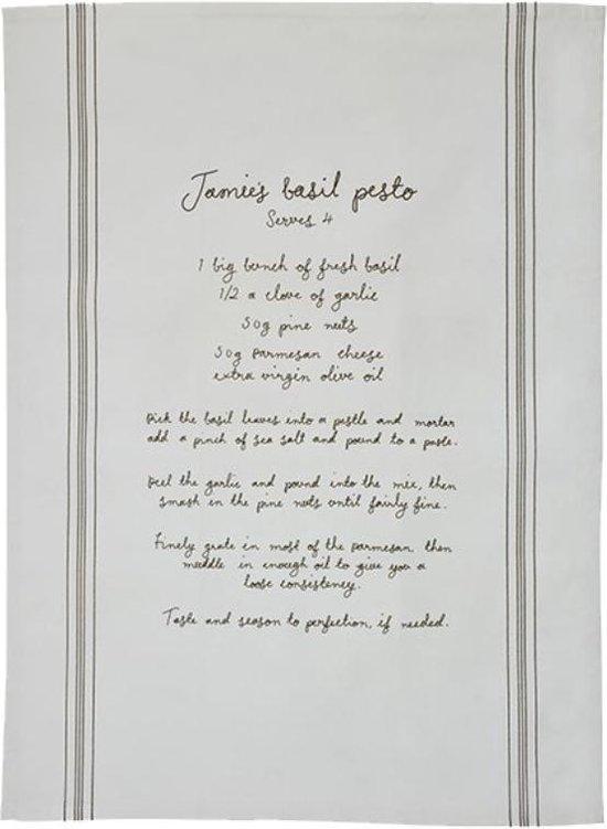 Jamie Oliver theedoek met recept Jamies Basil Pesto