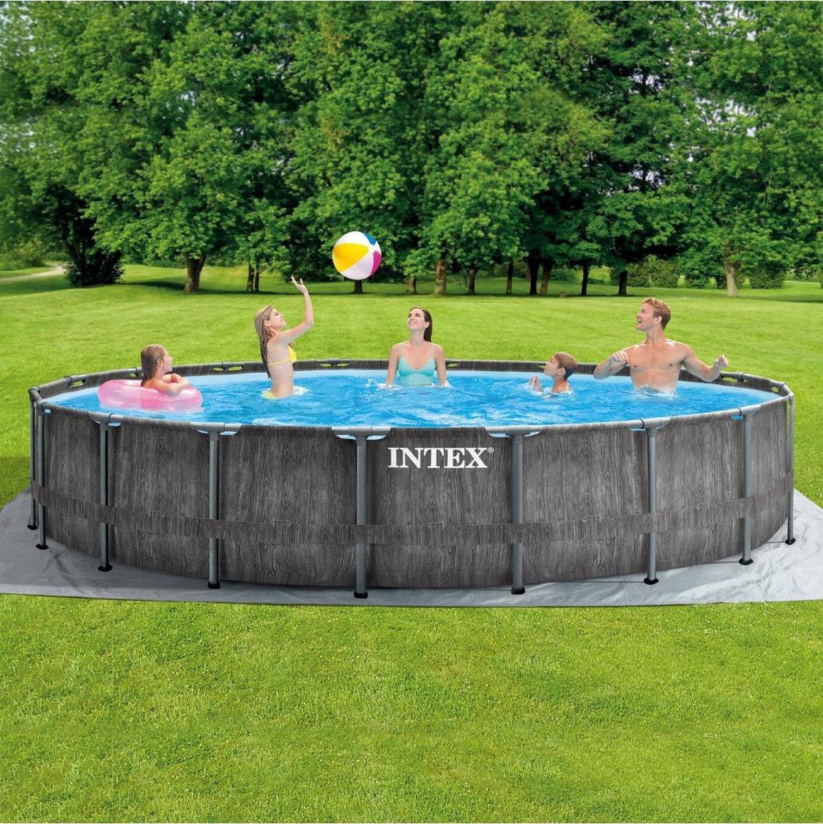 Intex Baltik Frame Pool - Houtlook zwembad - 549x122 cm - met pomp en accessoires