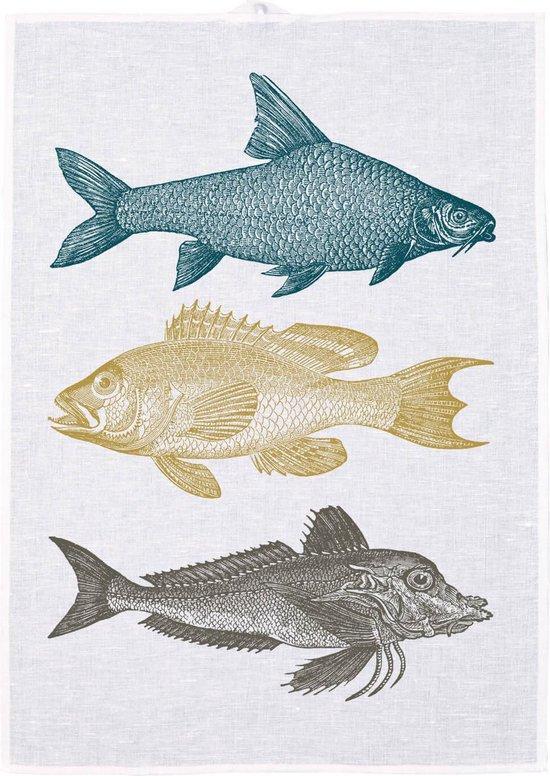 Halflinnen theedoek met drie vissen van Frohstoff