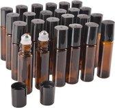 Rollerflesjes Glas 10ml Leeg 10 stuks - Roll-on, Bruin Glas - Etherische Olie - Parfumrollers - RVS Bal