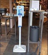 Desinfectie zuil   Dispenser zuil desinfectie   Desinfectie paal   Desinfectie standaard   met hand / elleboog dispenser