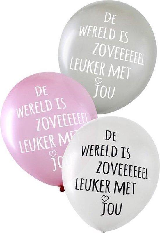 12x Liefde/Valentijn/bruiloft thema ballonnen 35 cm - Tekst: de wereld is zoveel leuker met jou