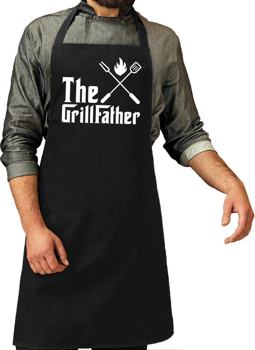 The Grillfather cadeau bbq/keuken schort zwart voor heren - kado barbecue schort voor heren - verjaardag/Vaderdag
