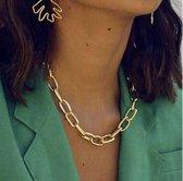 Cuban schakelketting vrouwen - Miami Vice Collier - Chain ketting - Goud - 47 cm - 1 stuks