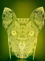 Nachtlampje Hond. Hond nachtlamp. Mandala beeld lamp. Mandala hond lamp/mood lamp 7-kleurig.