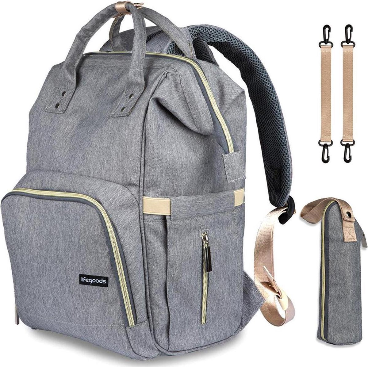 LifeGoods Luier- en Verzorgingstas - Baby Rug Tas met Isoleervak - Diaper Backpack Bag - Reis Rugzak