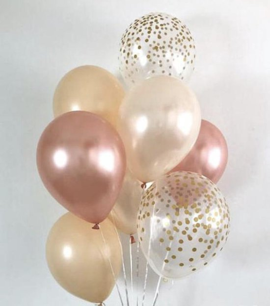 Ballonnen Rose/Goud - Zalm - Confetti en Off-White | Glossy | Effen | 10 stuks | Baby Shower - Kraamfeest - Verjaardag - Geboorte - Fotoshoot - Wedding - Marriage - Birthday - Party - Feest - Huwelijk - Jubileum - Decoratie | Traktatie - Versiering