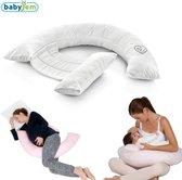 Babyjem - Zwangerschapskussen - Voedingskussen - Lichaamskussen - Zijslaapkussen - Ecru Wit