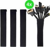 SolHouse™ Kabel Organiser – Kabelgoot – Kabel Management – Houder – voor Bureau en TV - Kabelbeschermer – 4 Stuks - Zwart