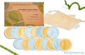 16x Blauwe (8) en Gele (8) Luxe Herbruikbare Wattenschijfjes – Bamboe - inclusief Waszakje | Plasticvrije Verpakking - Zero Waste | Wasbare Wattenschijfjes | Duurzame Wattenschijfjes | Make Up Pads