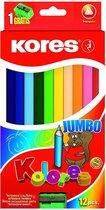 12 kleurpotloden KORES in de ergonomische, kindvriendelijke driehoekige vorm. Geschikt voor smalle handen.