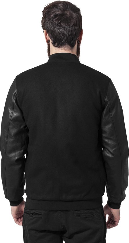 Urban Classics Oldschool College Jacket Tb201 Blk/blk Maat M