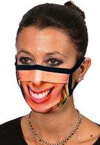 Mondmasker met Lachende vrouw print