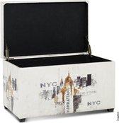 BankHocker met Opbergruimte | NEW YORK CITY NYC | Royale opberg Zitkist | HAKU hocker | Poef | Súper stevig en praktisch | 80 Liter