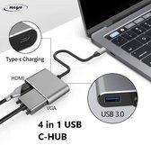 4 in 1 USB C-HUB Multipoort Adapter - HDMI, VGA, USB3.0 en Type-C opladen - Bruikbaar voor Macbook Pro, iPad Pro, Nintendo Switch