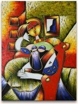 Handgeschilderd schilderij Olieverf op Canvas - Pablo Picasso 'Annabella met Boek'