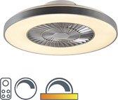 QAZQA climo - Plafondventilator met lamp - 1 lichts - Ø 59 cm - Zilver
