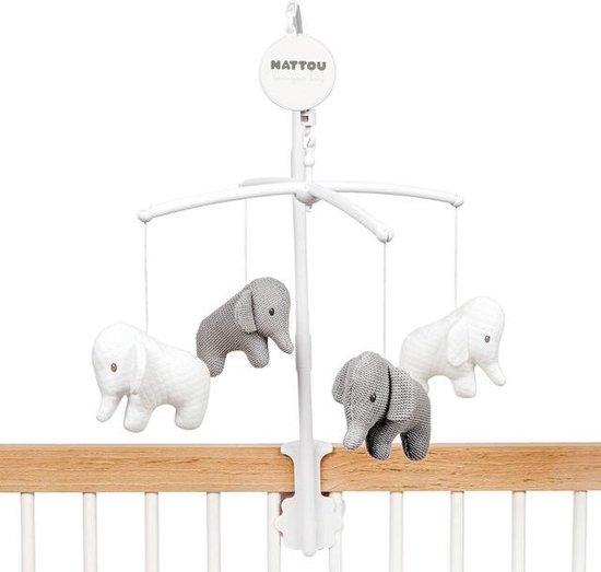 Product: Nattou Olifant Tembo - Muziek Mobiel voor Baby's - Grijs/Wit, van het merk Nattou