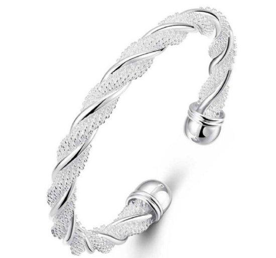 Armband- Verzilverd- Draai- Dames- Bangle