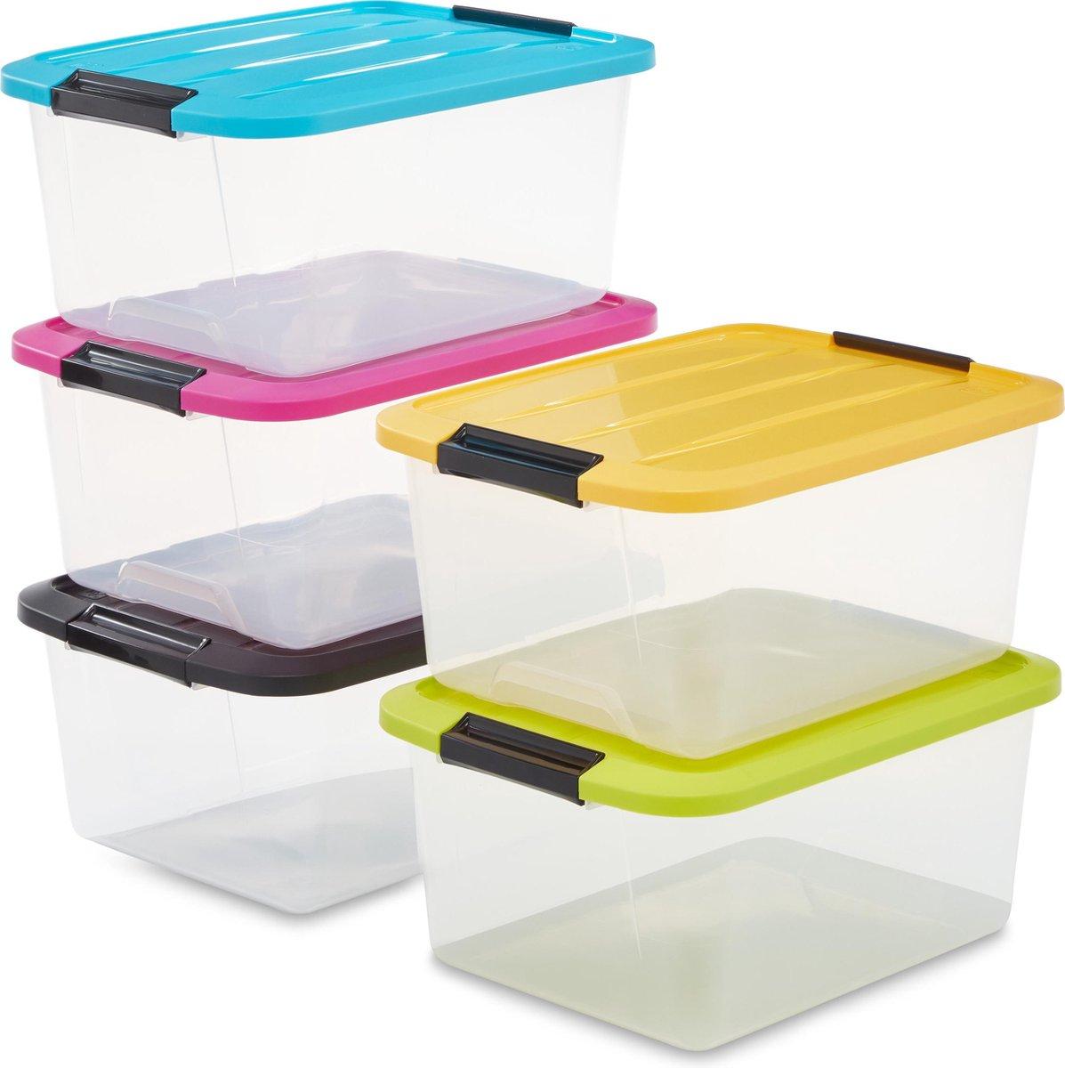 IRIS Topbox Opbergbox - 5 stuks van 15L - Kunststof - Transparant/Multicolor