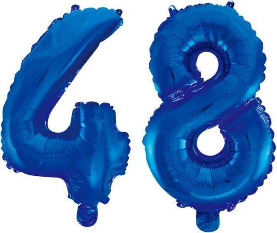 Folieballon 48 jaar blauw 86cm