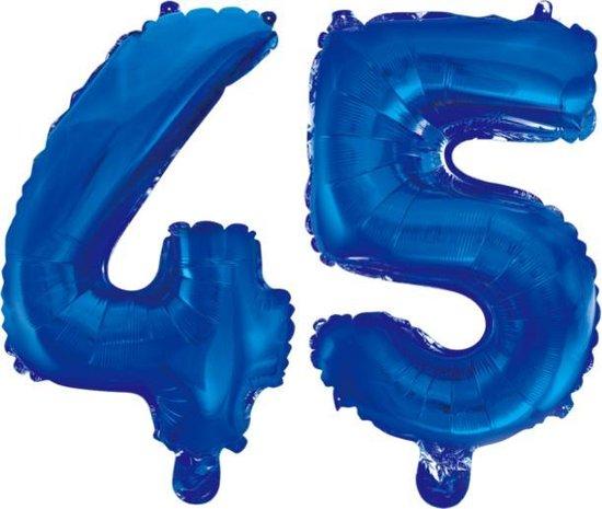 Folieballon 45 jaar blauw 86cm