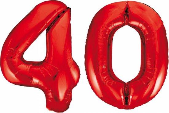 Folieballon 40 jaar rood 86cm