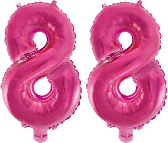 Folieballon 88 jaar roze 86cm