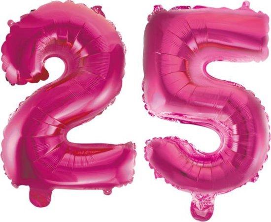 Folieballon 25 jaar roze 86cm