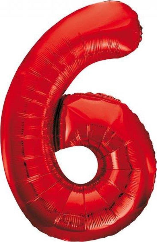 Folieballon 6 jaar rood 86cm