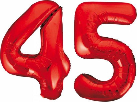 Folieballon 45 jaar rood 86cm