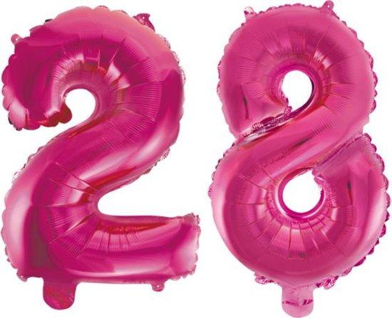 Folieballon 28 jaar roze 86cm