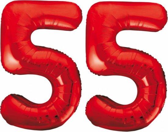 Folieballon 55 jaar rood 86cm