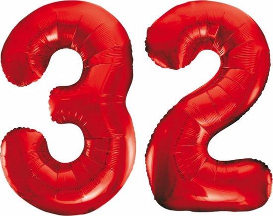 Folieballon 32 jaar rood 86cm