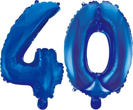 Folieballon 40 jaar blauw 86cm