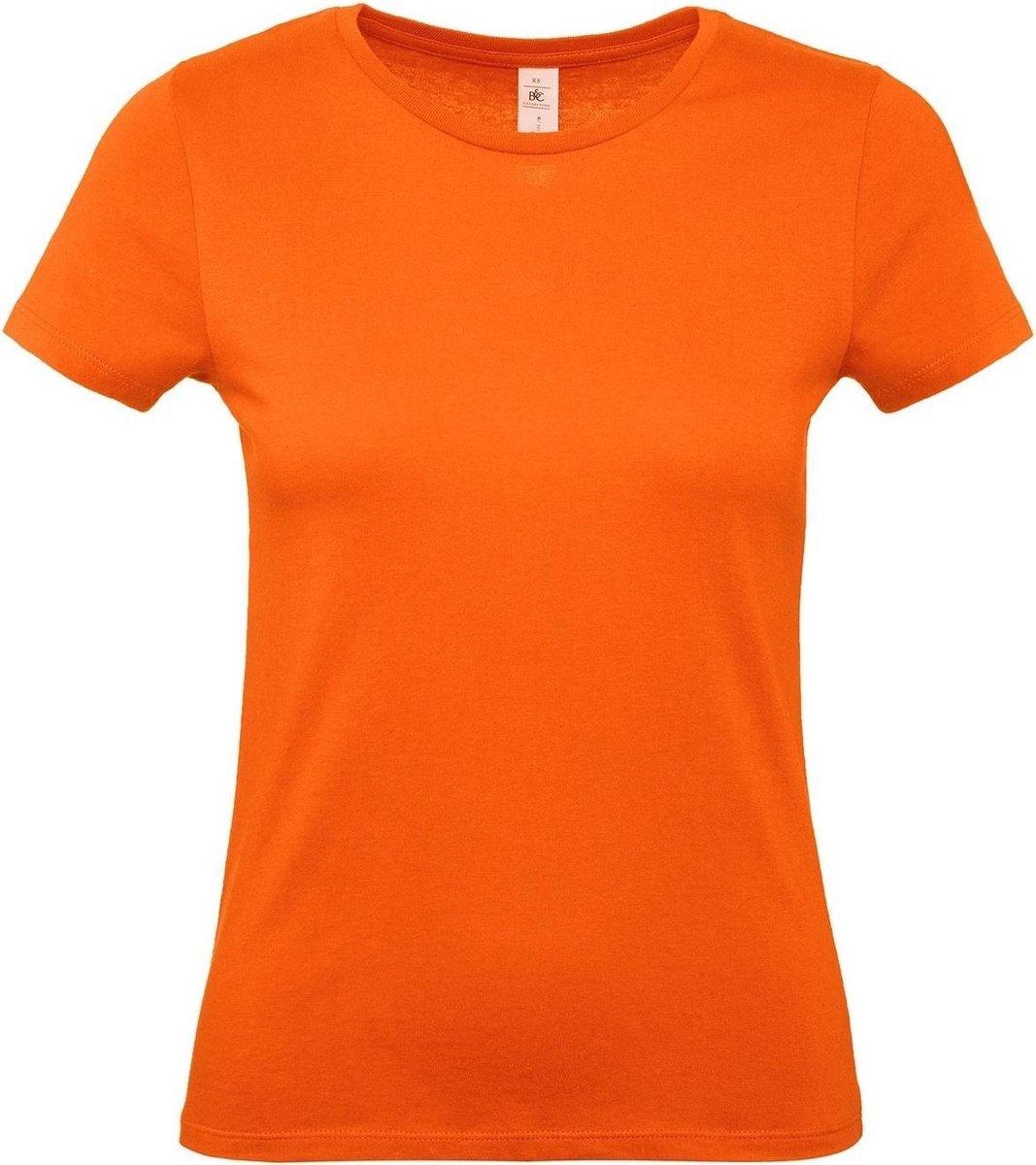 Oranje t-shirts met ronde hals voor dames - 100% katoen - Koningsdag / Nederland supporter L (40)