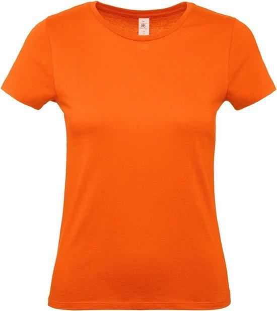 Oranje t shirts met ronde hals voor dames basic shirt katoen Koningsdag Nederland supporter L (40)