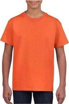 Oranje basic t-shirt met ronde hals voor kinderen unisex- katoen - 145 grams - oranje shirts / kleding voor jongens en meisjes - Koningsdag / supporter L (140-152)