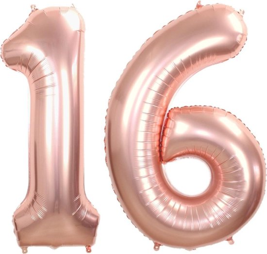 Folie Ballon Cijfer 16 Jaar Rosé Goud 70Cm Verjaardag Folieballon Met Rietje